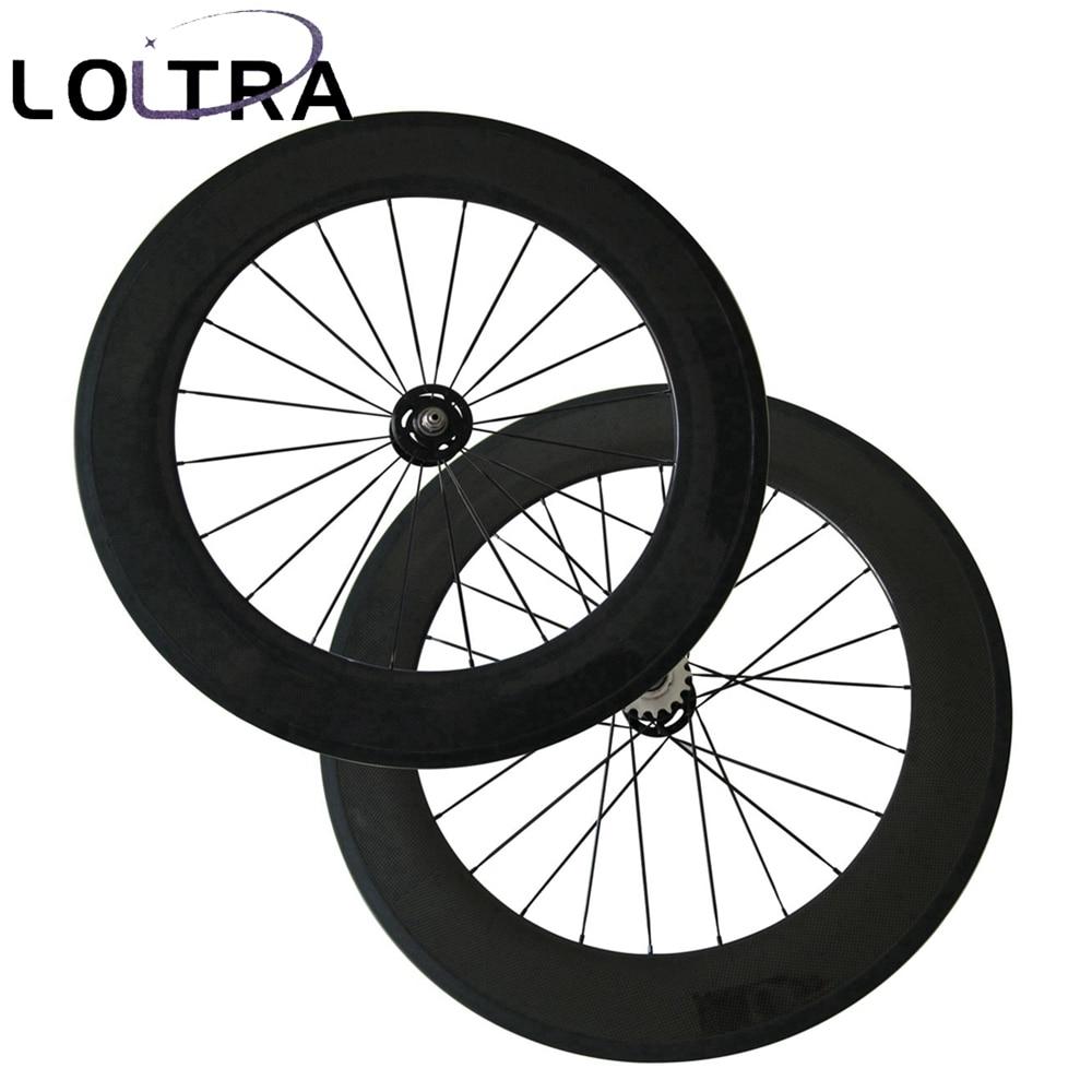 Track Bike Carbon Wheels LOLTRA 88mm Depth fixed gear wheel Set with A165SB A166SB flip flop Single Speed Hub Front-20H Rear-24H
