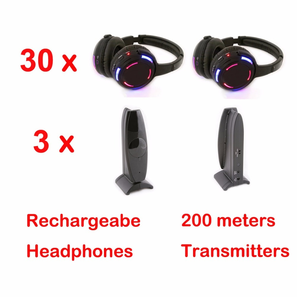 3 canales, disco silencioso, 30 auriculares inalámbricos y RF, Disco silencioso, auriculares para iPod, MP3, música de DJ, pary club meeting