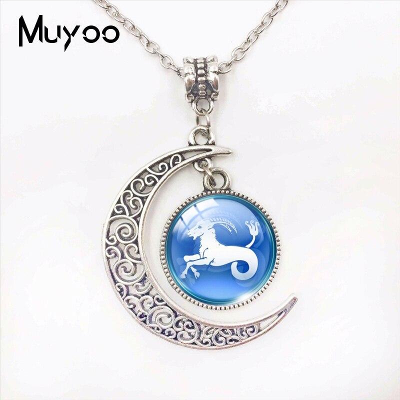 Zodiac Sign Button Glass Cabochon Moon Pendants Cancer Leo Virgo Libra Scorpio Gemini Zodiac Signs Handmade Moon Necklace