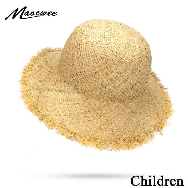 2018 lindo niño niñas Niño de rafia sombrero de paja niños ala grande playa verano niños Boater domo de playa de sombrero Fedora 50CM