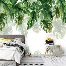 Papier peint 3D moderne feuille verte plante   Papier peint pour mur salon chambre à coucher TV étude fond de Restaurant 3 D décor