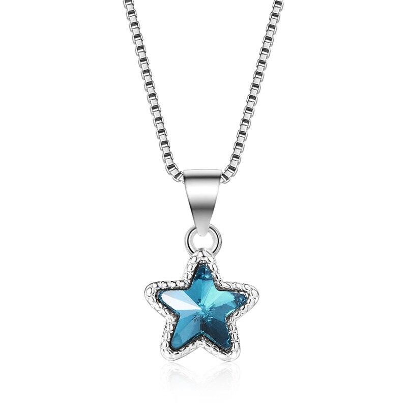 TJP Moda 925 Colar de Prata Para As Mulheres Jóias Charme Azul Estrela de Cristal Pingentes Colar Acessórios Party Girl Lady
