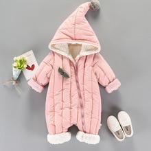 Overalls Winter Jumpsuit Baby Newborn Plus velvet snowsuit baby girl coat pure pink warm children outwear