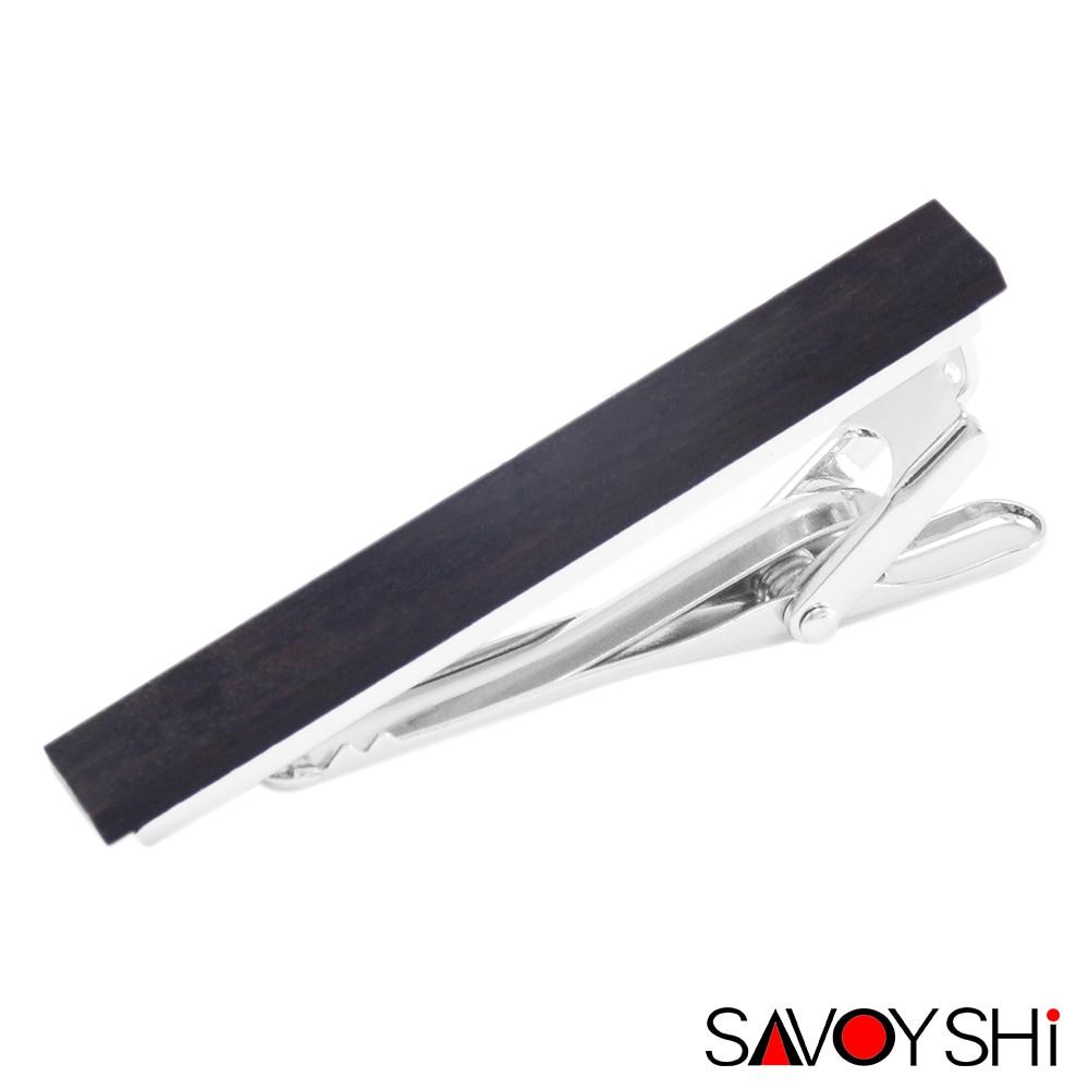 Sakyeshi Clips de madera negros de lujo para corbata para hombre broche de barra de corbata de alta calidad Clip de corbata regalo de fiesta joyería de marca