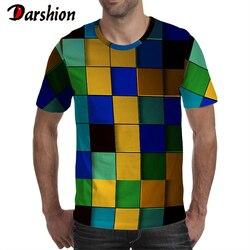 3D Darshion Verão Homens De Impressão Tshirt O Pescoço Casual Manga Curta Tops Tees Checkered Impressão Homens Camiseta Hip Hop Rua Vestuário