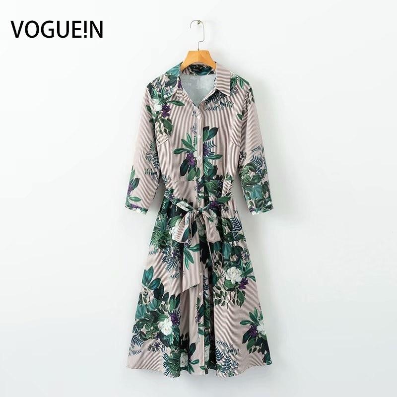 VOGUEIN New Womens Floral Striped Print 3/4 Sleeve Belt Button Down Shirt Dress Wholesale