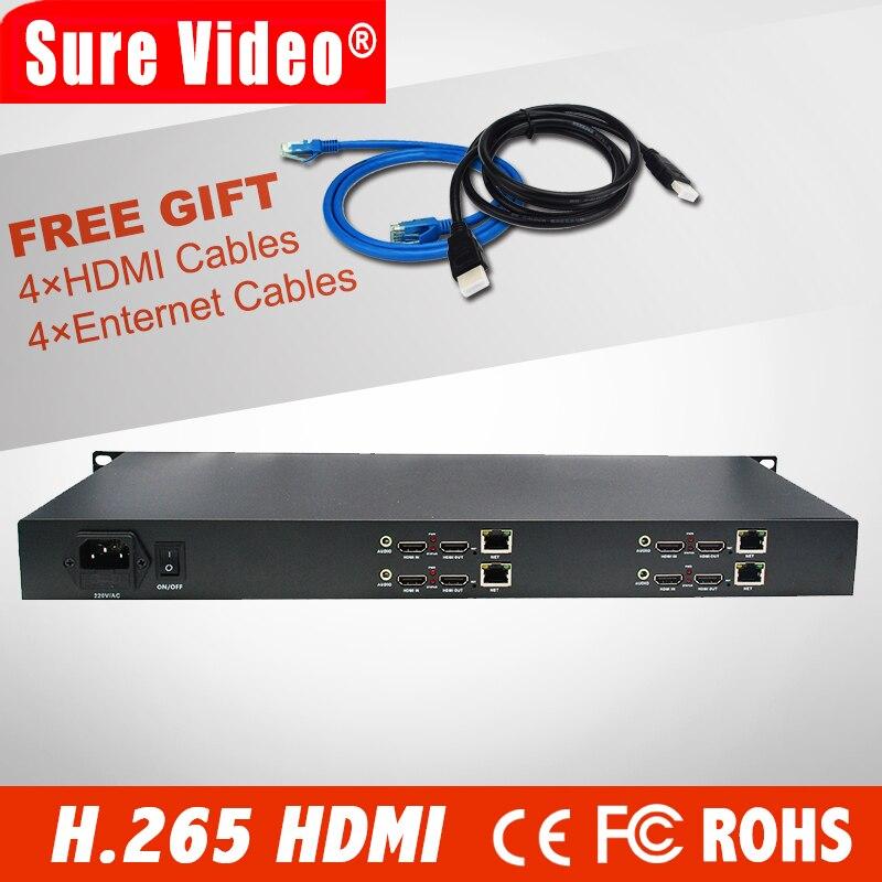 HD H.265 HEVC AVC 1U 4 canales hdmi codificador de ip para streaming IPTV Youtube Wowza Facebook Ustream