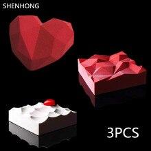 3 PCS Silicone Molde Do Bolo Do Coração Diamante 3D TRIANGULAÇÃO Lava Mousse Sobremesa Bakeware Chocolates Moldes Pan Sorvetes Geométrica