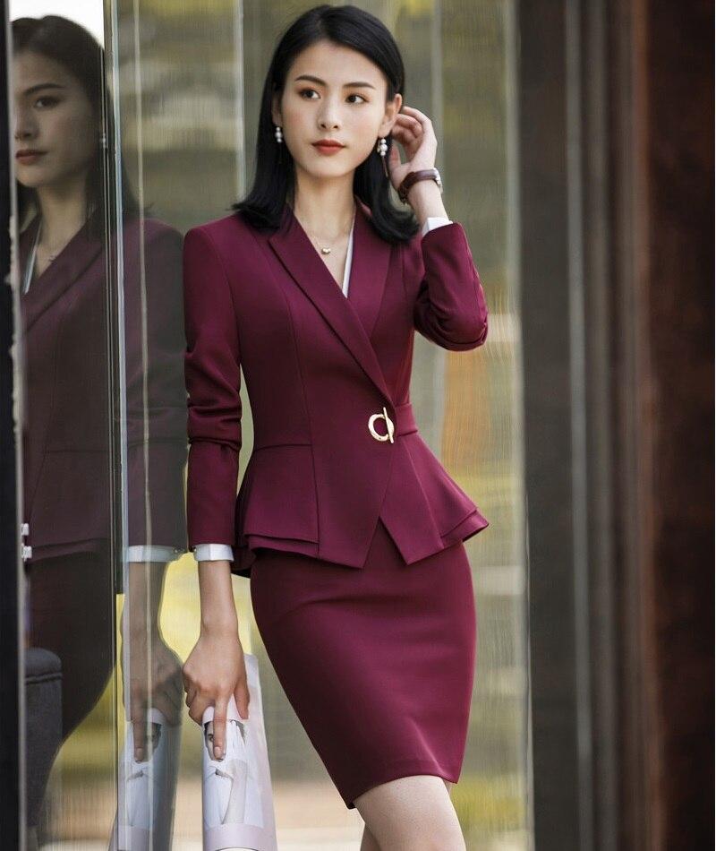 السيدات مكتب موحدة تصاميم بدلة عمل مع تنورة وقمم الخريف الشتاء موضة النبيذ الرسمي ملابس العمل مجموعات السترة