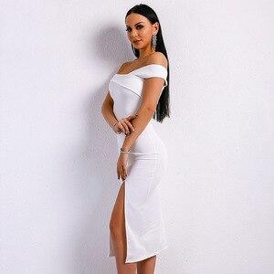 Off the Shoulder Slash Neck Dress Sexy Women Elegant Celebrity Evening Party Birthday Fashion Slit White Dresses