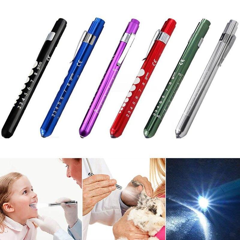 Portátil led lanterna luz de trabalho médica caneta primeiros socorros luz da tocha lâmpada com medidor aluno medições médico enfermeira diagnóstico