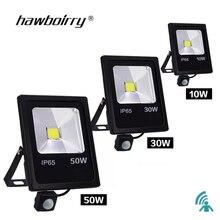 Hareket sensörlü LED projektör 10 W 30 W 50 W 220 V projektör reflektör foco LED açık su geçirmez IP65 açık spot