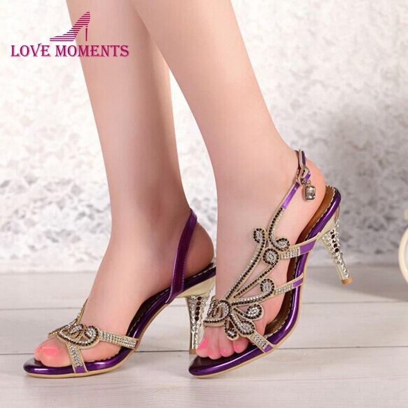 Fashion Summer Sandals Sky Blue Gold Purple Color Sandal Rhinestone Open Toe Lady Summer Bridesmaid Bride Wedding Dress Shoe
