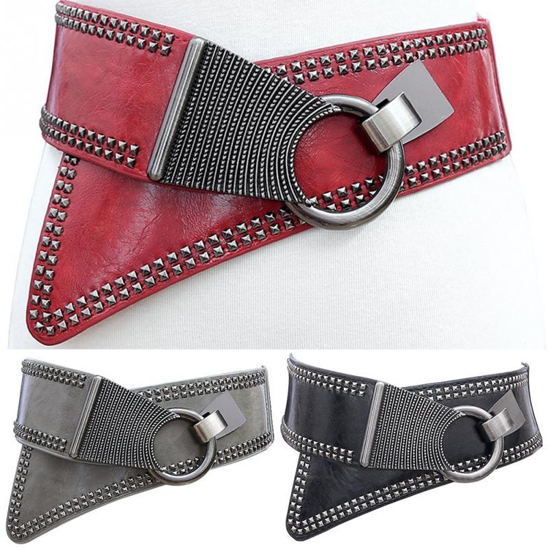 Cinturones anchos Punk Rocker de moda para mujer cinturones elásticos de estilo europeo ancho para mujer abrigo de vestir Cummerbund