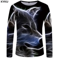 kyku wolf t shirt men long sleeve shirt gothic rock light clothes black funny t shirts animal 3d t shirt anime mens clothing