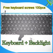 """Marke Neue Für MacBook Pro Retina 13,3 """"A1502 SE Schwedisch Schweden tastatur + Hintergrundbeleuchtung + 100 stücke tastatur schrauben 2013-2015 Jahre"""
