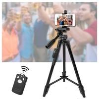 YUNTENG 5208 Aluminum Tripod with 3-Way Head & Bluetooth Remote + clip tripode camara profesional for Canon Nikon Camera Phone