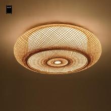 Hand-geweven Bamboe Rieten Rotan Ronde Lantaarn Shade Plafondlamp Armatuur Rustieke Aziatische Japanse Plafon Lamp Slaapkamer Woonkamer