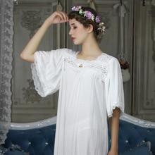 Automne blanc dentelle pyjama princesse doux coton demi manches Royal élégant femme longues chemises de nuit mince sommeil robe 8018