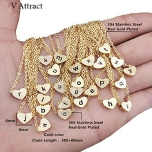 V attirer chaîne en acier inoxydable initiale Choker bijoux Vintage or Rose o p q r s t u v w x y z coeur lettre charme collier