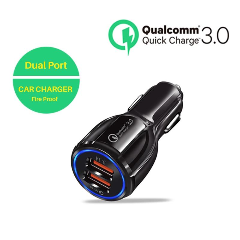 Qc 3.0 carregador de carro carga rápida porta dupla 3.1 um carregador usb para xiaomi iphone 7 8 x samsung s9 s10 huawei inteligente carregador rápido hub