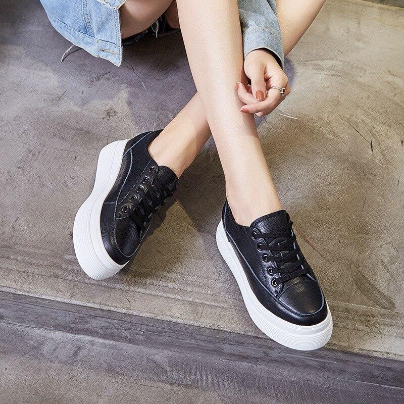Zapatos blancos planos de mujer primavera otoño cuero genuino cordones zapatillas de niña zapatos de mujer zapatos de plataforma plana zapato de mujer casual