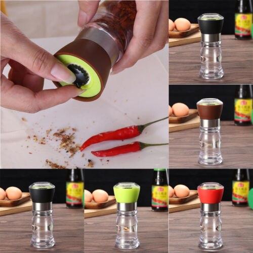 Novedad 2019 1 Uds trituradora de pimienta y sal Set 4 colores Molino de plástico cepillado de acero inoxidable botella de vidrio de cocina al por mayor caliente