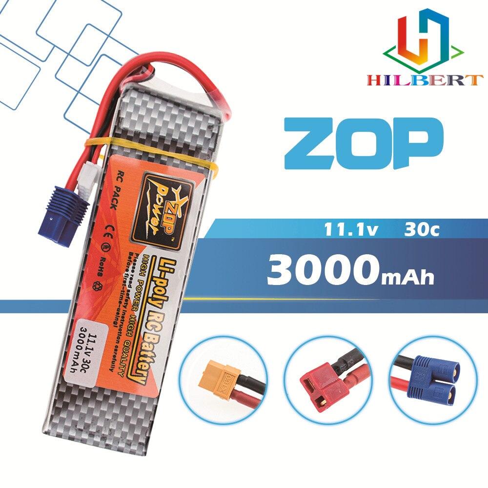 Batería ZOP Power Lipo 11,1 v 3000mah 3S 30C EC3 XT60 T enchufe de polímero de litio para Blade 350 QX450 RC helicooper Drone