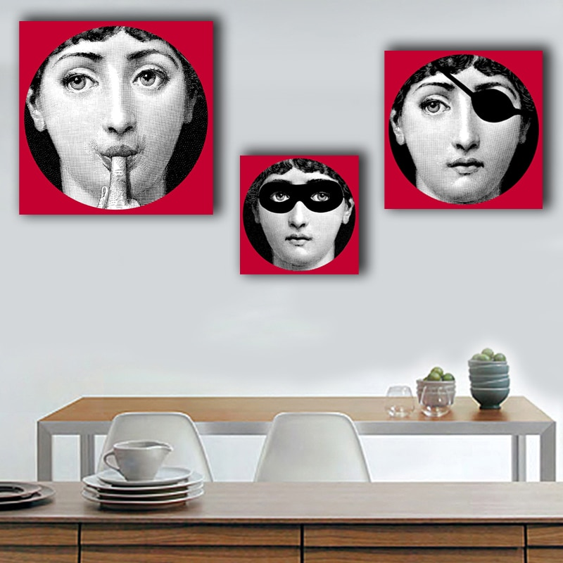 Lina Face CUADRO DE calavera Lina pintura de cara núcleo decoración de pared clásica tela de lona decoración de sala de estar forma cuadrada negro oscuro