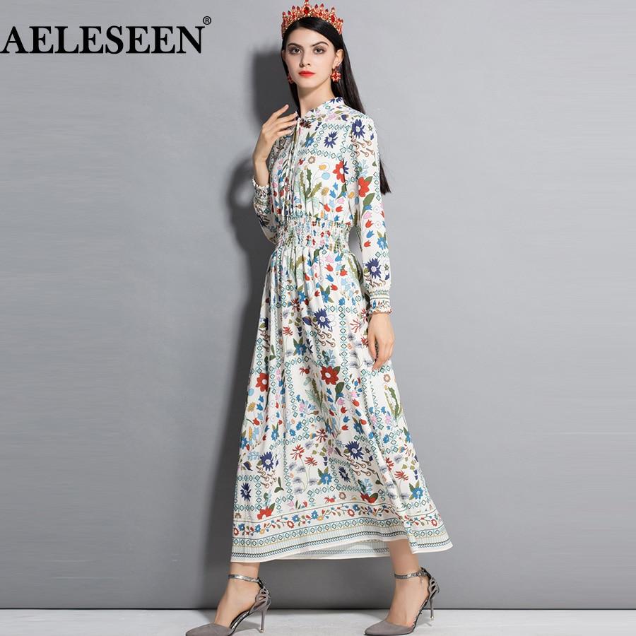 AELESEEN موضة المدرج فستان طويل es المرأة أنيقة 2021 ربيع الخريف جديد البيج القوس الأزهار مطاطا البوهيمي فستان طويل