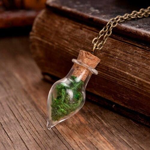 3 pièces 8MM véritable collier en mousse souhaitant collier minuscule verre Globe vert collier terrarium collier