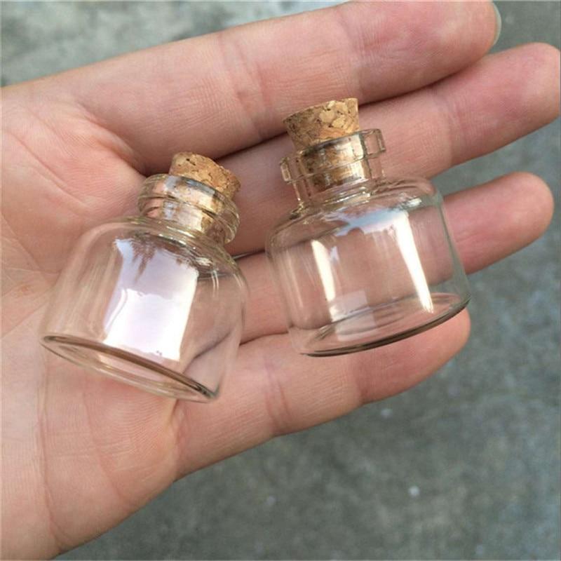 10 mini vaso de ML botellas de corcho lindo vacío transparente jarras y botellas de vidrio viales 30*30*10mm 24 unids/lote al por mayor envío gratis