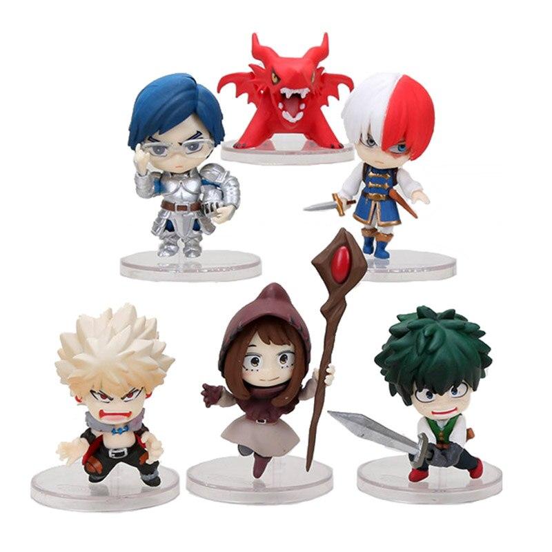6 unids/set anime Academia my hero Boku No Hero Academia Midoriya Todoroki Shoto Bakugou Himiko juguetes de figuras de PVC Brinquedos