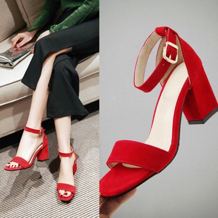 Sandalias aterciopeladas con correa en el tobillo para mujer, zapatos de tacón puntiagudos para mujer, zapatos de verano Rojo Negro, tacones altos, sandalias de gladiador para mujer de 7cm, talla grande