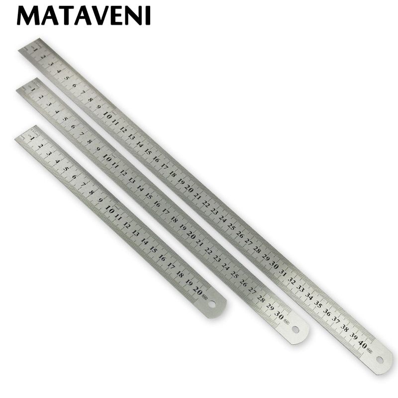 Нержавеющаясталь металлическая линейка 15/20 Вт, 30 Вт, 40 см метрических правило точность Двусторонняя измерительный инструмент Средство для шитья аксессуар