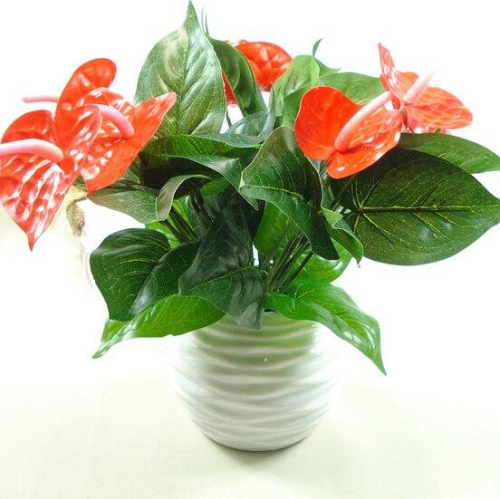 Anthurium verde maceta de flores de anturio plantas verdes para uso en interiores balcón Oficina escritorio flores artificiales de bonsái