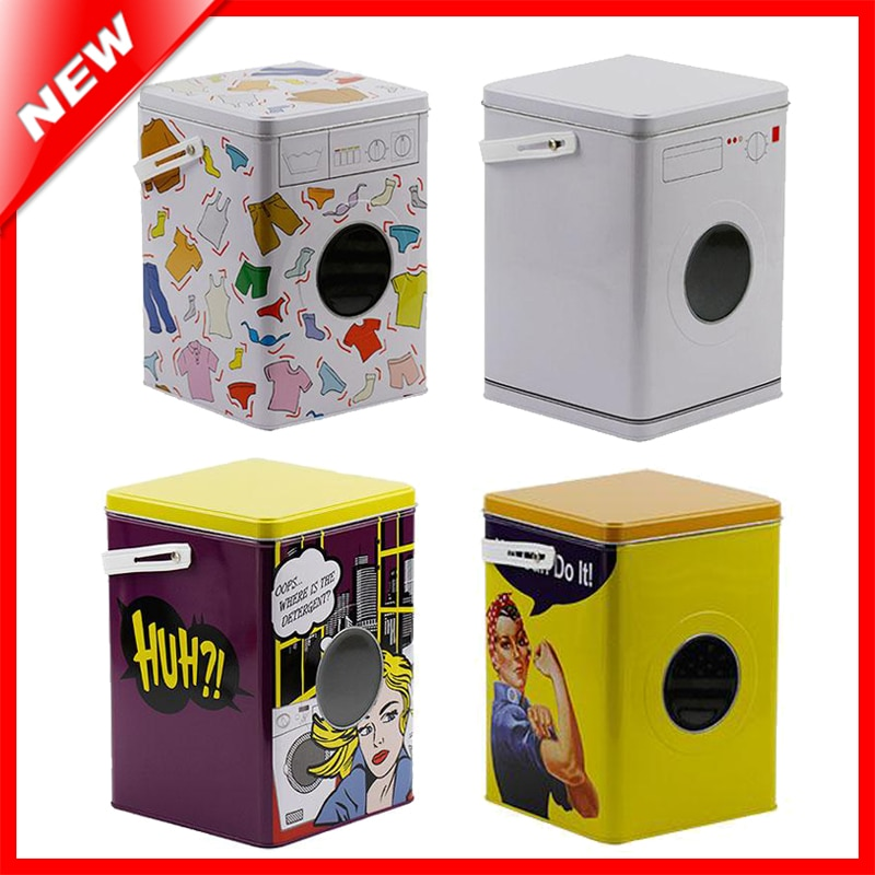 Decorative Laundry Machine Shaped Detergent Washing Powder Storage Tin Box Sundries Organizer Pet Dog And Cat Food Container