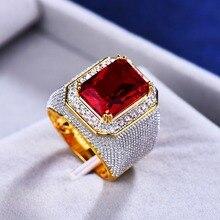 Precioso anillo de compromiso rojo grande para hombre y mujer, bonito anillo de piedra de circón de oro amarillo, anillos de boda Vintage para hombres y mujeres