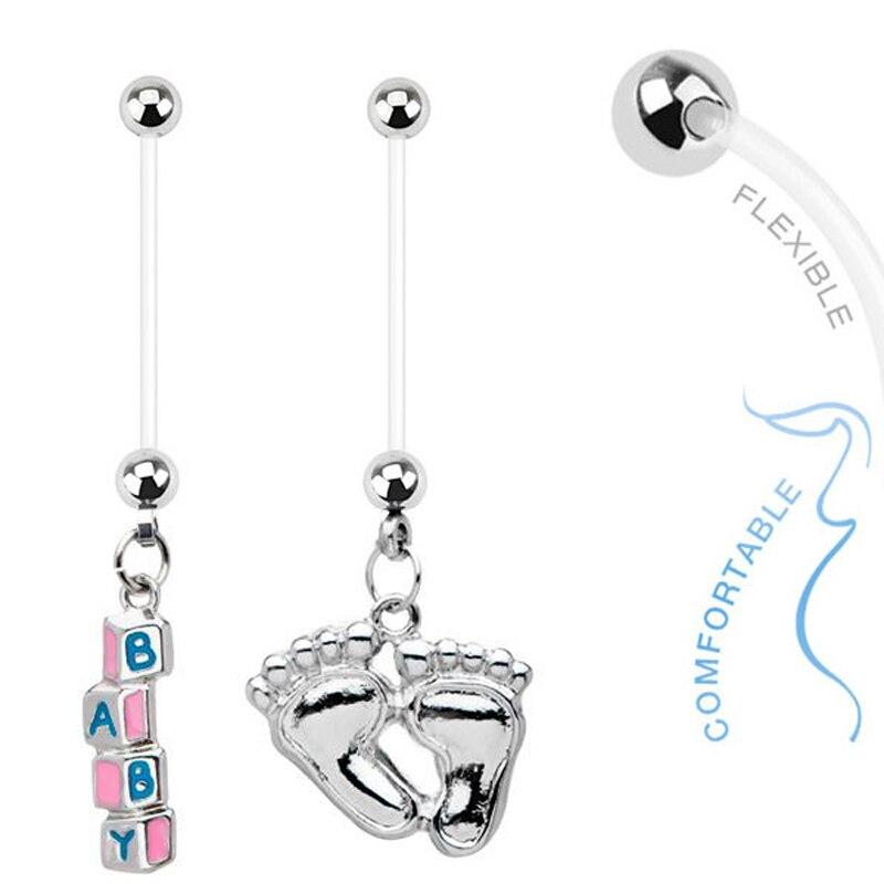 1 шт., кольцо для беременных, детские блоки, розовые болтающиеся кольца для пупка, 14 г, BioFlex, пирсинг пупка для беременных, ювелирные изделия для тела