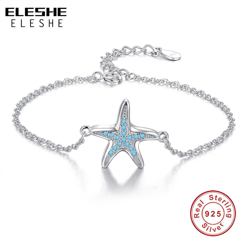 ELESHE New 925 Sterling Silver Starfish Charms Bracelet Clear CZ Adjustable Chain Link Bracelets For Women Friendship Jewelry