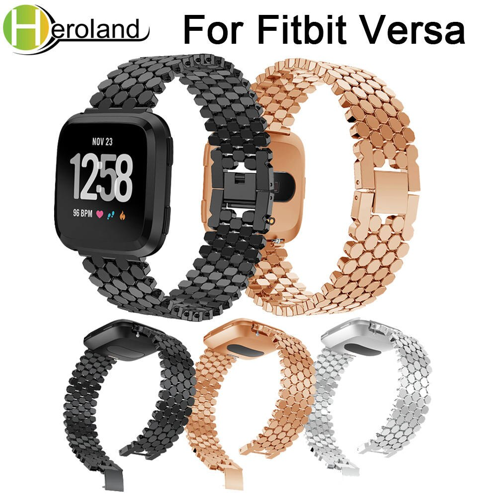 Stainless Steel watch band Strap For Fitbit Versa band WatchBands metal Replacement Smart bracelet new fashion Luxury wristband new fashion watchband replacement metal alloy watch strap for fitbit blaze smart watch band with case luxury bracelet wristband