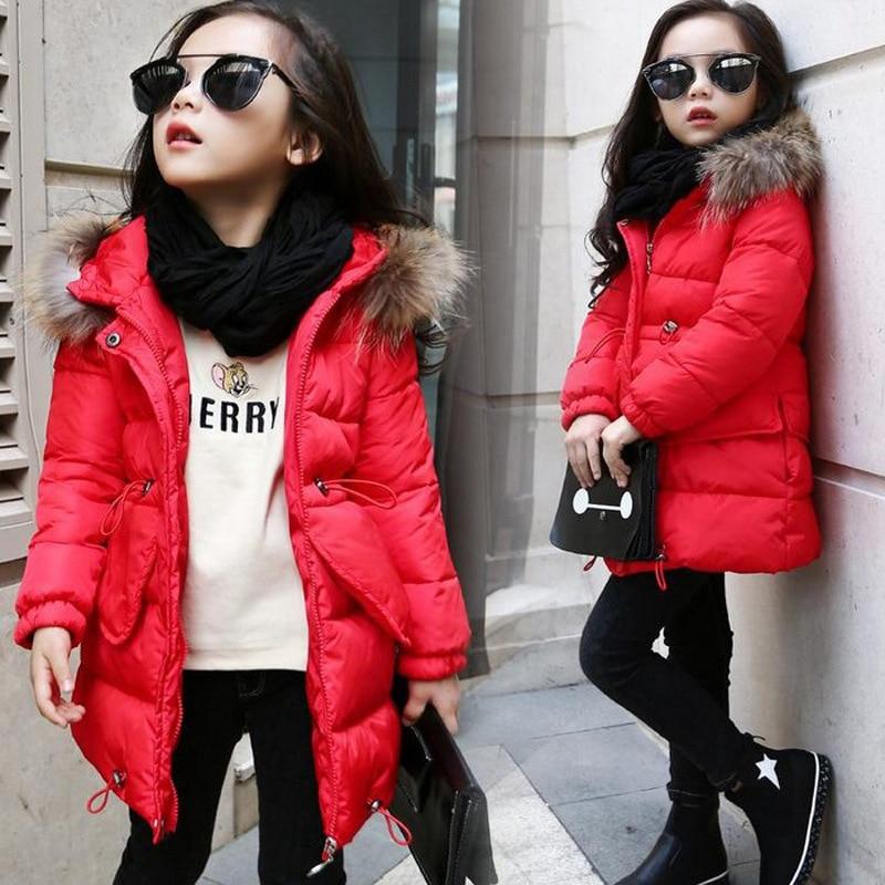 2020 Big Girl Clothes Winter Cotton Jacket Kids Warm Thicken Hooded Big Fur Collar Parka Coats Outwear Girls Long Clothing