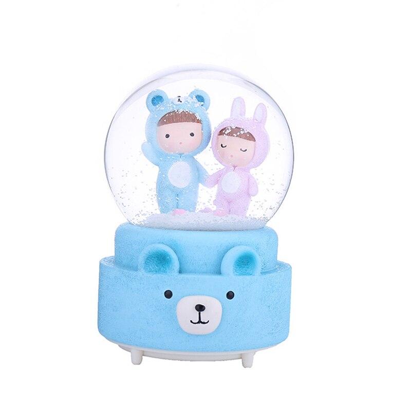 Nórdicos de dibujos animados caja de música con forma de bola de cristal con la música colorido luces de globo de nieve artesanía decorativa bola cumpleaños regalo Decoración de casa