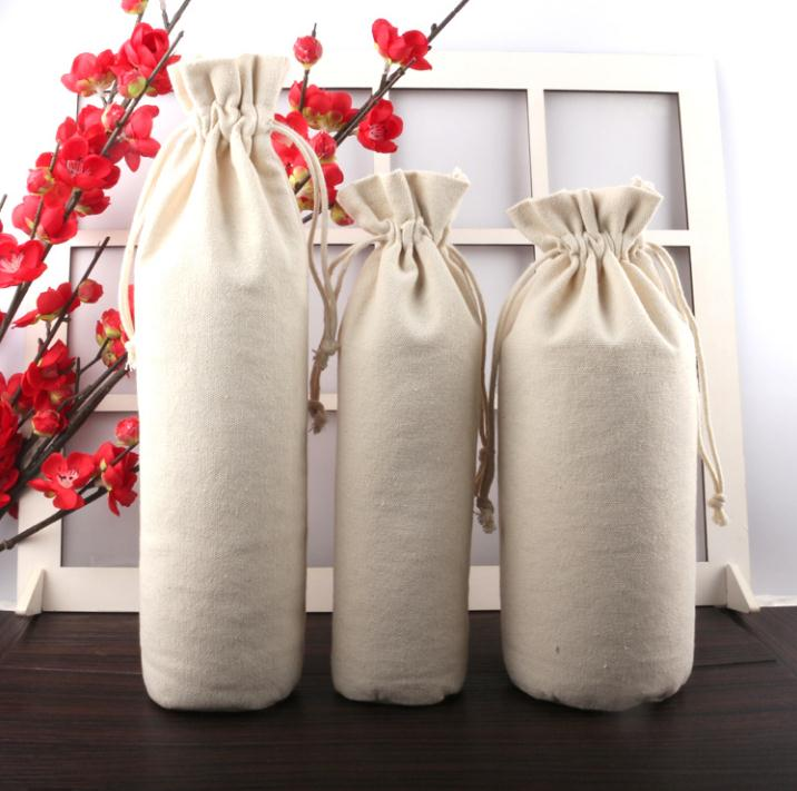 Bolsas de cordón de lona de fondo redondeadas 14*38 cm para accesorios collar joyas de regalo bolsas de embalaje de vino SN1405