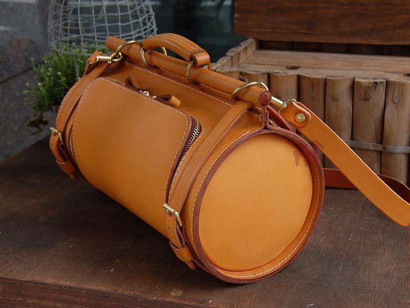 Bolso de cuero hecho a mano de cubo de dibujo de la bolsa de mensajero productos bolso de cuero patrón MINI dibujo versión DIY de papel bolsa de papel de BXK-23