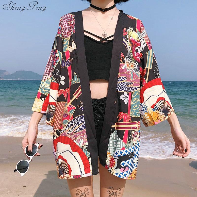Mujer Yukata Kimono cardigan camisa harajuku estilo kawaii Kimono mujer 2019 blusa obi seda ropa informal japonesa G098