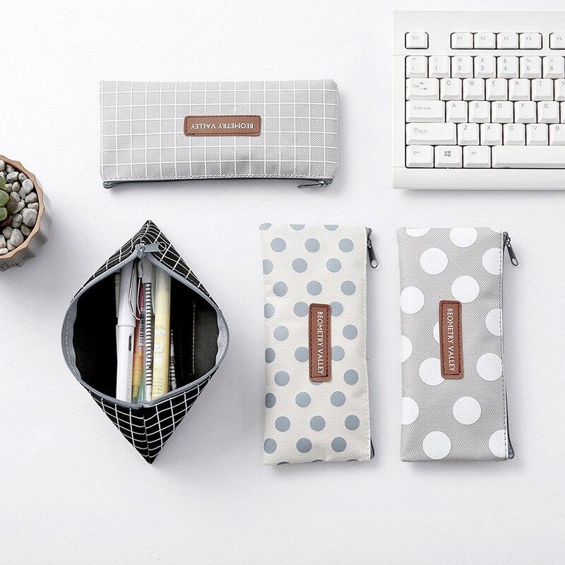 Скандинавский стиль INS, Холщовый пенал для школы, милый простой полосатый сетчатый пенал, сумка для ручки, коробка, канцелярская сумка для школьных принадлежностей