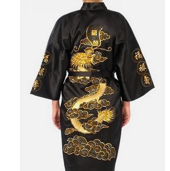 Mais tamanho xxxl preto chinês feminino cetim de seda robe novidade bordado dragão kimono yukata banho vestido sleepwear camisola a138