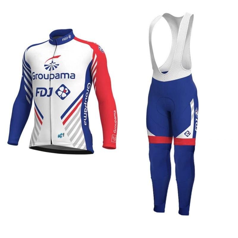 2019 wiosna jesień zespół FDJ cienkie pro z długim rękawem jazda na rowerze jersey zestawy oddychająca MTB cykl tkaniny Ropa ciclismo zestaw podkładka żelowa
