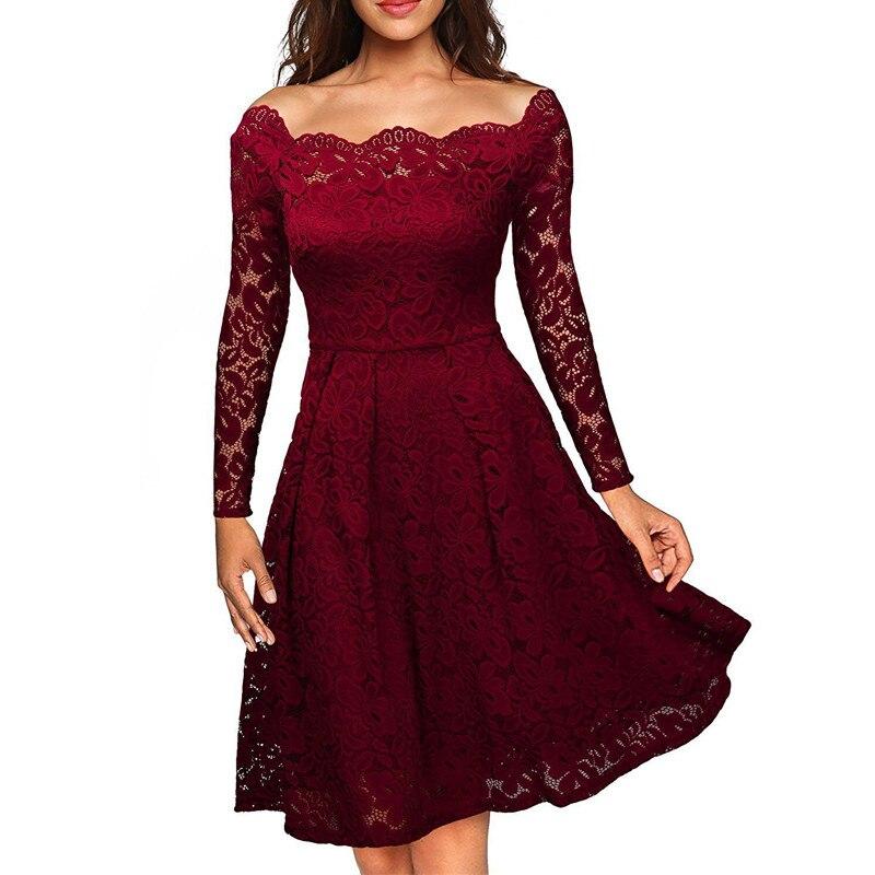 2020 OLGITUM Spring /Summer Women Dress Slash neck Dress Lace Lady Female Dresses DR540